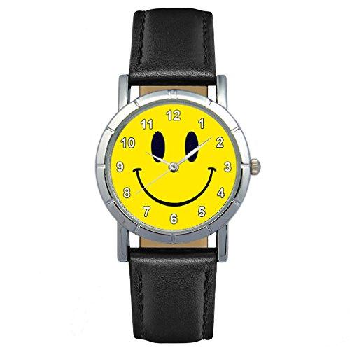 Timest - Smiley Motiv Damenuhr mit Lederarmband Rund Analog Quarz SA1890CC