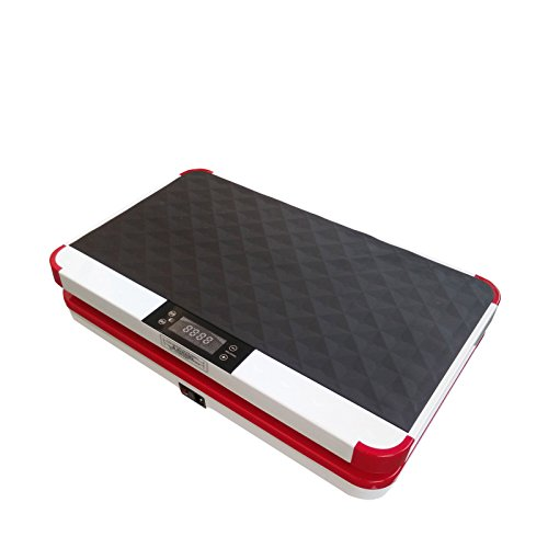 VibroSlim Ultra Pro Vibrationsmaschine Plattform Power Fitnessmaschine - 3 Jahre Garantie; DVD, Poster und Armriemen inklusive - Rot