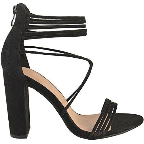 Damen Riemensandaletten - High Heels mit Blockabsatz und Peeptoe Schwarz Veloursleder-Imitat