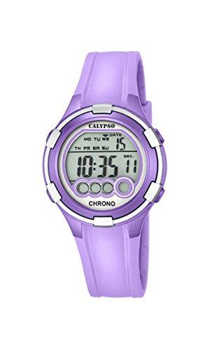 Reloj digital para mujer de la marca Calypso, con pantalla LCD y correa de plástico de color morado. K5692/8.