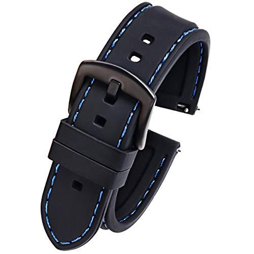 Pbcode Schwarz Blau Nähte Silikon Gummi Uhrarmband 22mm Sport Diver Uhrenarmband Ersatz Schwarz Schnalle