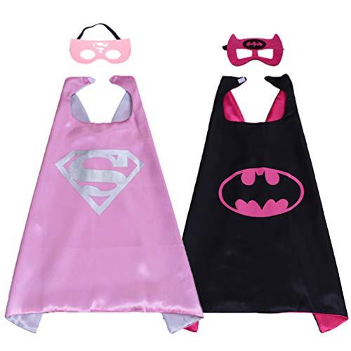 Kinder-Kostüm mit Batman- und Superhelden-Kostümen für Männer und Mädchen, Kinderkostüm mit Superman-Masken, Batman-Masken und Umhang Satin, Cosplay-Umhang für Partyzubehör (2 Sets, Umhang + ()