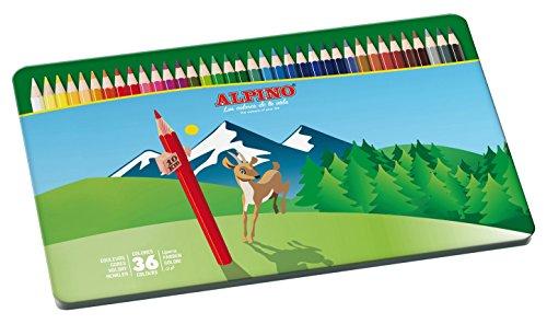 Alpino AL000760 – Estuche metálico de 36 lápices, colores surtidos, 1 unidad