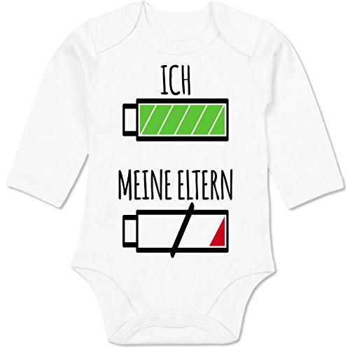 Shirtracer Strampler Motive - Ich und Meine Eltern Batterie - 3-6 Monate - Weiß - BZ30 - Baby Body Langarm -