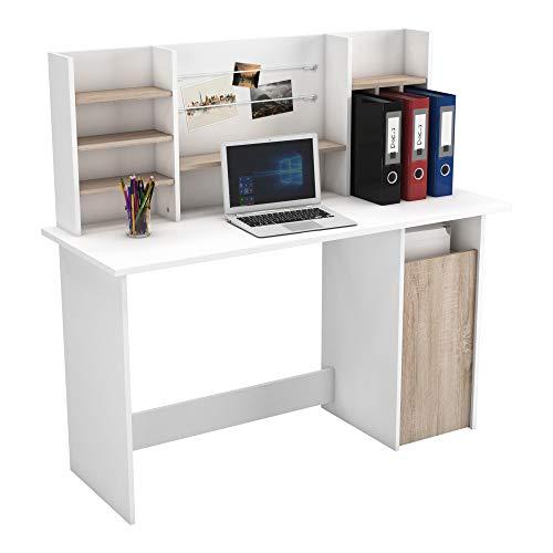 Mesa de Ordenador Escritorio con altillo 135cm. Blanco y Roble. para habitación Juvenil, Estudio, despacho.