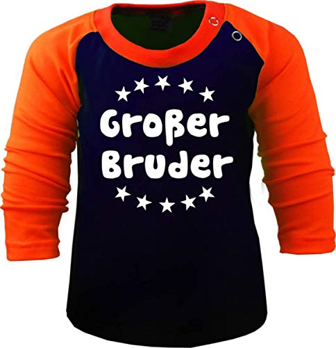 Baby/Kinder Baseball Langarm T-Shirt (Farbe: Navy-orange) (Gr. 110/116) Großer Bruder