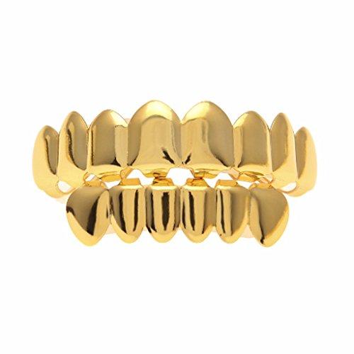 Homyl 18k Golden überzogen Hip Hop Grills Top Untere Zähne Kostüm Überzogen mit 18k Goldton - Gold
