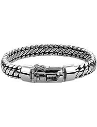 """KUZZOI """"Buddha"""" Silber-Armband für Herren, handgefertigtes Panzer-Armband aus echtem, massiven 925er Sterling Silber, luxuriöses Herren-Armband mit Kuzzoi-Gravur, 10mm breit, 66g schwer 335201"""