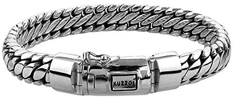"""KUZZOI """"Buddha"""" Silber-Armband für Herren, handgefertigtes Panzer-Armband aus echtem, massiven 925er Sterling Silber, luxuriöses Herren-Armband mit Kuzzoi-Gravur, 10mm breit, 66g schwer 335201-019"""