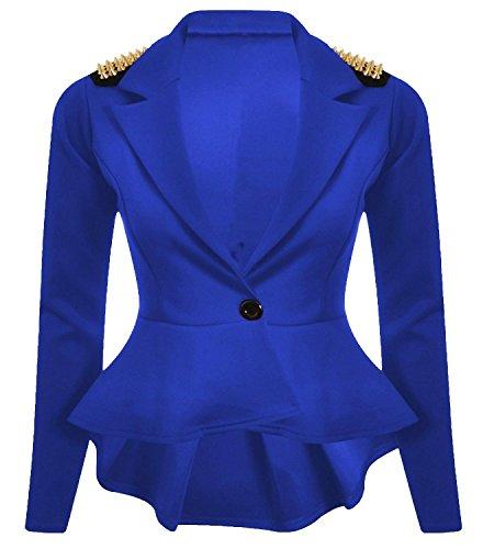 Nouveaux Femmes Grande Taille transitoire de veste de blazer femmes cloutés taille 36-52 Royal