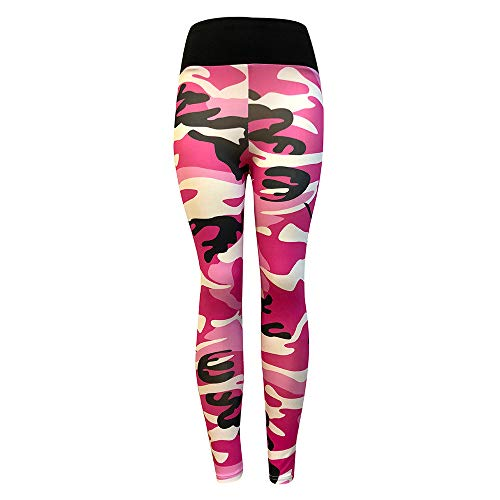Camouflage Sporthose Damen Lang Eng Yogahosen Trainingshose Tights Shape Stretch Leggings für Workout Gym Sport Yoga Joggen Trainings Fitness Laufen Hosen riou New (L, Pink) (Der Königin Herzen-leggings)