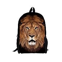 HUGSIDEA Fashion Lion Backpack Kids Shoulder School Bag Bookbag for Boys