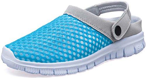 Eagsouni™ Unisex-Erwachsene Breathable Mesh Hausschuhe Sandalen Freizeit Clogs und Pantoletten Schuhe Sommer, Himmelblau, 37 (Mesh-pantoletten)