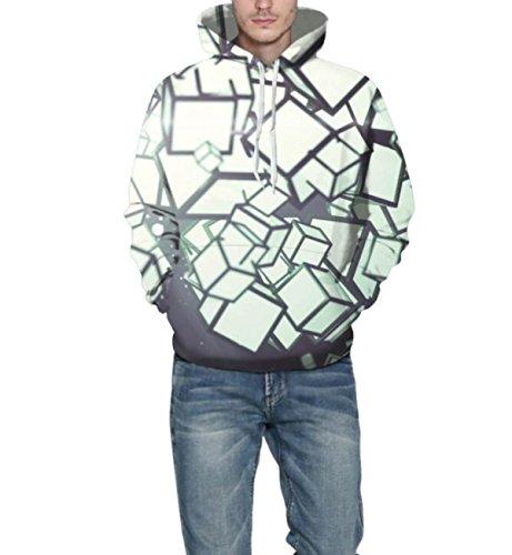 Sweatshirt Hoodies 3D Imprimer Cordon À Capuche À Manches Longues Décontracté Respirant Jumper Avec Grande Poche Pour Hommes Femmes Couples White