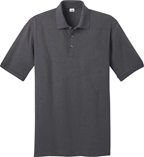 Port & Company Herren Robust; perfekt Pique Polo Shirt Dunkelgrau