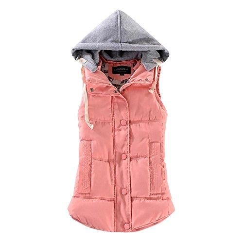 Rosennie Damen Weste Mit Kapuze Übergangsweste Winter Warm Ärmellos Sweatweste Jacke Baumwolle Solide Waistcoat Herbst Jacket Outerwear Mantel (L, Rosa)