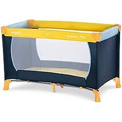 Hauck / Dream N Play / Lit Parapluie 3 Pièces / 120 x 60 cm / Naissance à 15 kg / avec Matelas et Sac de Transport / Pliable / Transportable / Inversable / Yellow Blue Navy (Bleu Marine)