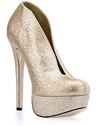 Best 4U® Botas de tobillo de mujer Bling Glitter 14 CM zapatos de tacón de aguja de punta redonda punta redonda...