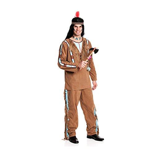 Kostümplanet® Indianerkostüm Herren Indianer-Kostüm Herrenkostüm XL Karnevalskostüm (Leben Kostüm Weste)