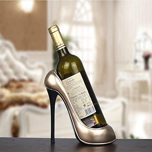 Wohnzimmer Schwingen (TXHZJX Kreative Champagner Silber Weinregal Zuhause Wohnzimmer Schwingen High Heels Weinregal Harz Handwerk Hauptdekorationen)