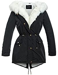 SS7 Womens Padded Coat Quilted Hooded Faux Fur Parka New Size 8 10 12 14 16 Black