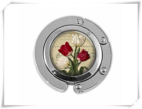 Rot und Weiß Tulpen Spring Garden Blumen Mutter 's Day Geldbörse Kleiderbügel Geldbörse Haken Hand Tasche Regenschirm Aufhänger (Geldbörse Haken)