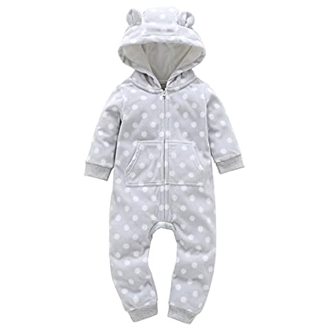 TIREOW Unisex Soft and Comfy Warm Cute Casual Organic Cotton Print Dots Long Sleeve Thicker Hooded Romper Outfits Clothes Set For Newborn Infant Baby Boy Girl Gray 2017