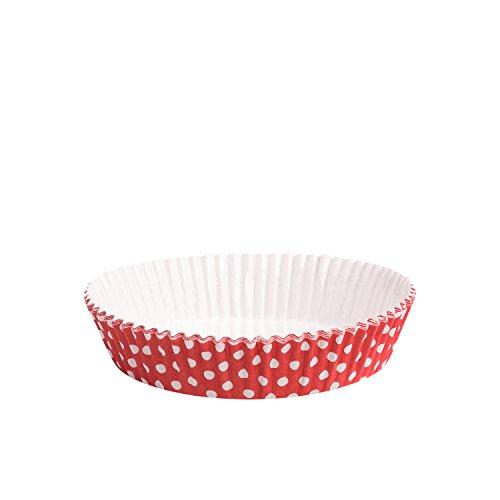 12 Tarte Backform Pünktchen rot/weiß | extra stabil | kein Einfetten nötig |Fettdicht | Gefrierfest | für Quiches, Tartes und kleine Küchlein | Einweg Backform