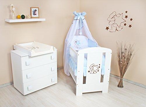 Babyzimmer (weiss) sparset incl. Babybett , Wickelkommode , Ausstattung - Komplettset (hellblau)