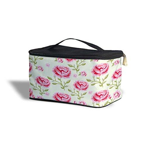 Rose roses avec feuilles vertes étui de rangement de Cosmétique – Maquillage à fermeture Éclair Sac de voyage, Polyester, rose, One Size Cosmetics Storage Case