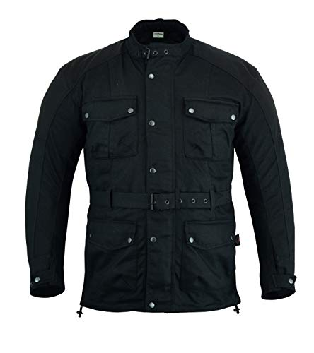Texpeed Cordura & Wax Coated Black Motorcycle Jacket Coated Twill Jacket
