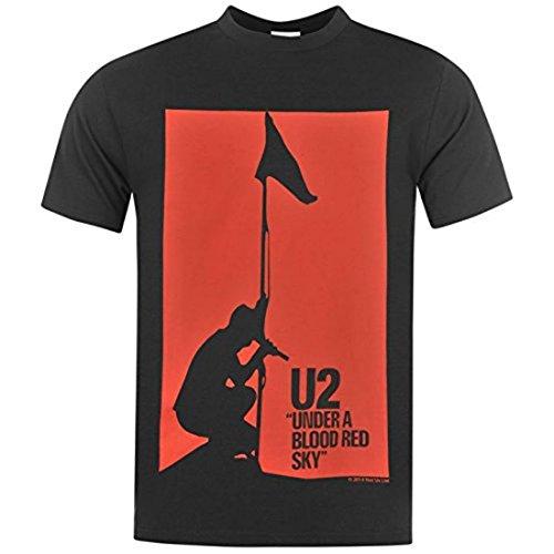 Official Herren U2 T Shirt Kurzarm Rundhals Print Red Sky
