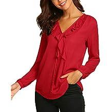 Parabler Damen Schulterfrei Chiffon Bluse V-Ausschnitt Cut Out Loose Fit  Top T-Shirt 6a774f423f