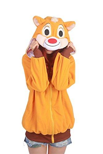 CuteOn Unisexe Dessin animé Hoodie animal Sweatshirts Survêtement Pullover Encapuchonné Chandail Veste Outwear Casual Écureuil