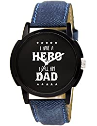 Snapcrowd Amazing Stylish Sport Look My DAD Hero Black Dial Stylish Blue Leather Strap Analog Watch For Men &...