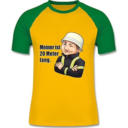 Feuerwehr - Feuerwehrmann - Meiner ist 20 Meter lang. - zweifarbiges Baseballshirt für Männer Gelb/Grün