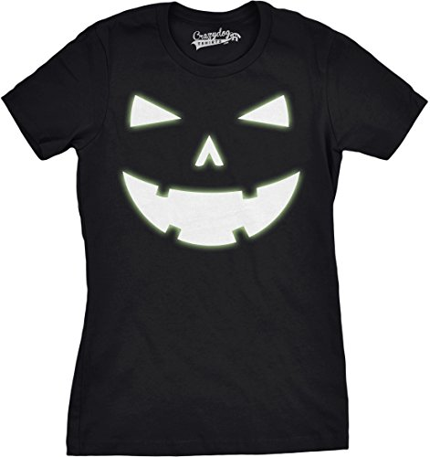Crazy Dog TShirts - Womens Happy Tooth Glow in the Dark Pumpkin T Shirt Face Halloween Tee For Ladies (black) XL - damen - (Kostüme Nerdy Halloween)