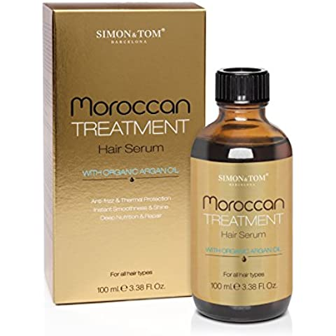 Simon & Tom Serum capilar a base de aceite de Argán orgánico puro Nutre, hidrata, suaviza y aporta brillo sublime