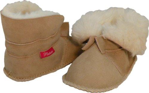 Plateau Tibet - ECHT LAMMFELL Baby Kinder Schuhe Booties Stiefel - HuggB, Sand - Gr. 20/21