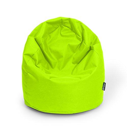 BuBiBag Sitzsack Tropfenform Beanbag Sitzkissen für in & Outdoor XL 300 Liter bis XXXL 470L mit Styropor Füllung in 23 Versch. Farben (XXL Ca. H : 115cm - DM : 70cm ca. 420 Liter, Kiwigrün)