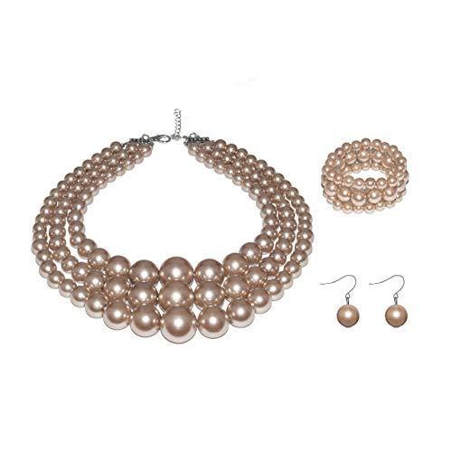 Metme Damen 3 Layer Faux große Perlenschmuck Sets Anweisung Strands Halskette Armband und Ohrringe - 1920er Strand Kostüm
