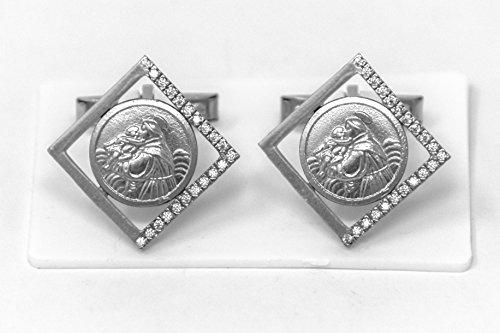 Herren-Manschettenknöpfe 800 St. Anthony Medaille katholisches Geschenk für Männer & Lourdes