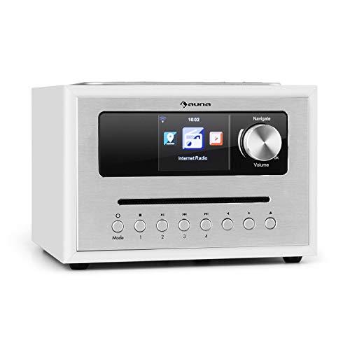 """auna Silver Star CD Cube Radio • WLAN-Radio mit CD-Player • Micro-Anlage • UKW-Tuner • Bluetooth • 10 Watt RMS • 2,8\"""" HCC Display • AUX-In • App-Steuerung • Aluminium • inkl. Fernbedienung • weiß"""