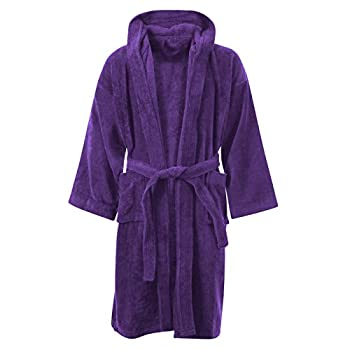 Kids Boys Girls Bathrobe Egyptian Cotton Luxury Velour Towelling Hooded Dressing Gown Soft Fine Comfortable Nightwear Terry Towel Bath Robe Lounge Wear Housecoat With Pockets,12-14 Years 0