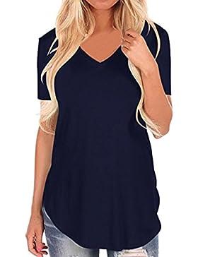 BYSTE Donna Camicia Blusa Maglia V-Collo Manica Corta Casual Irregolare Maglietta T-Shirt Camicetta Tops