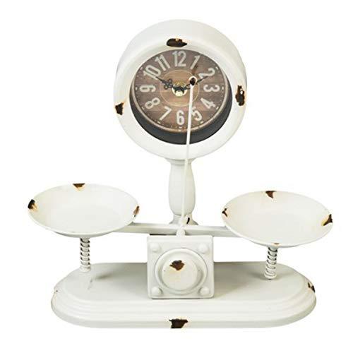Les Trésors De Lily [Q5546 - Pendule métal Vintage 'Balance' Blanc (2 Plateaux) - 27.5x25x10 cm