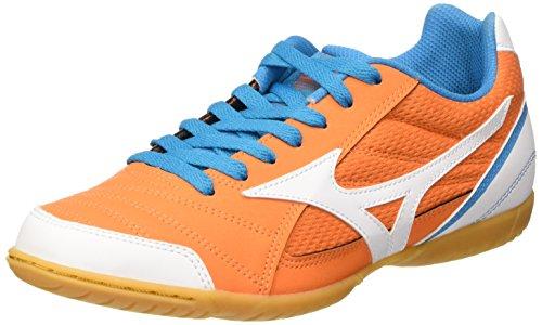Mizuno Sala Club In, Chaussures de Football Homme Orange - Arancione (Vibrant Orange/White/Atomic Blue)