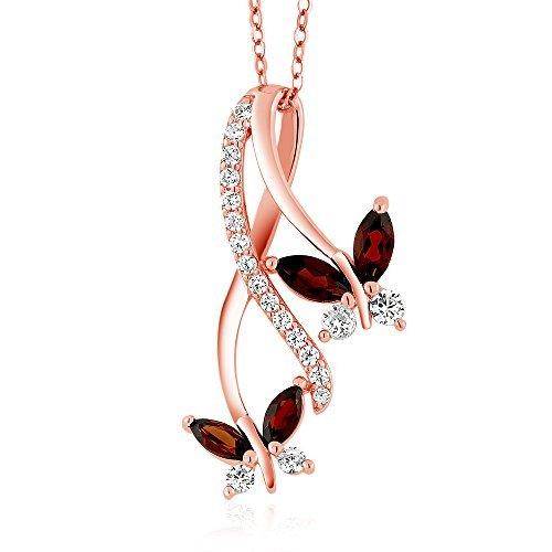 ger 18K Rose vergoldet Silber Natur Rot Granat Marquiseschliff Schmetterling Infinity 45,7cm Kette (1,21Karat Gesamtgewicht) (Glow Halskette Großhandel)