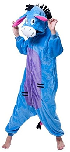 WOWcosplay Jumpsuit Tier Cartoon Fasching Halloween Kost¨¹m Sleepsuit Cosplay Fleece-Overall Pyjama Schlafanzug Erwachsene Unisex Kigurumi Tier Onesize,Esel ()