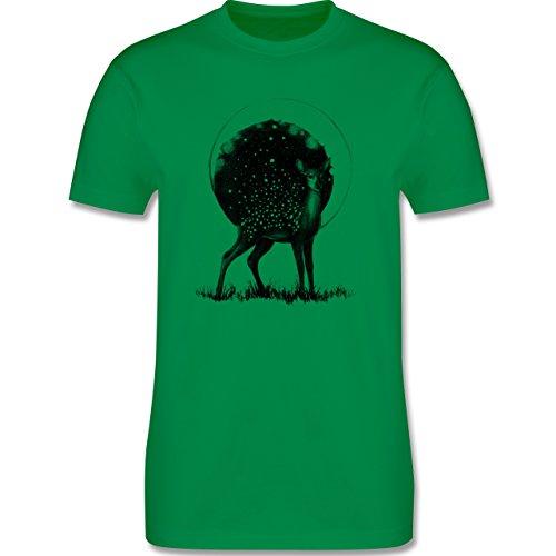 Statement Shirts - Reh Mond und Sterne - Herren Premium T-Shirt Grün